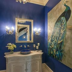 Looking for Bathroom and Powder Room ideas? Browse Bathroom and Powder Room images for decor, layout, furniture, and storage inspiration from HGTV. Peacock Bathroom, Bathroom Colors, Small Bathroom, Tiny Bathrooms, Bathroom Closet, Bathroom Bath, White Bathroom, Beautiful Bathrooms, Bath Pictures