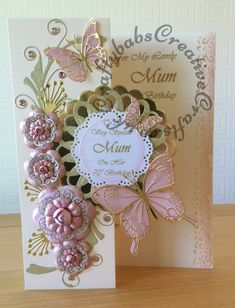 Special Card for a Mum's 70th Birthday, Made using a variety of dies including Tattered Lace Dies Roses & Lavish Blooms Poppy (to make flowers), Quickutz Dies nesting Scalloped Circle, Die'sire Dies looped? circle, Memory Box Dies Butterflies and Gwyneth flourish, Marianne dies leaf elements and Nellie Snellen Dies nesting scalloped circles.