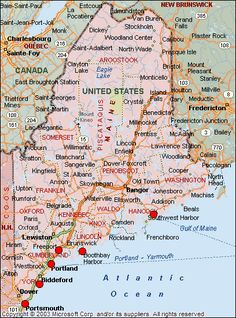 Shows a map of Maine featuring cities, towns and major roadways.  USA