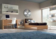 60 Excellent Teen Bedroom Design Ideas: 60 Excellent Teen Bedroom Design Ideas With Black Wooden Bed And Blue Rug And Modern Furniture Design