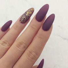 Matte Plum & Gold Fall Nails