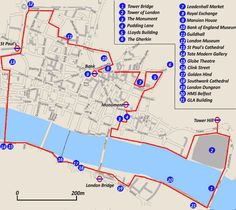 City of London Self Guided Walk Map Also: www.londontoolkit… City of London Self Guided Walk Map Also: www. City Of London, Walks In London, London Blog, London Tours, London Map, London Museums, London Places, London Travel, Tower Bridge London