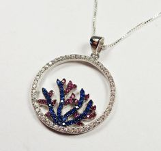 STERLING SILVER NAUTICAL TROPICAL CORAL REEF COLORFUL STONES PENDANT NECKLACE #Unbranded #Pendant