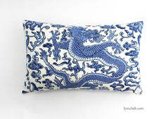 Custom Pillows by Lynn Chalk in Scalamandre Chi'en Dragon (Shown in Blue on White comes in 12 colors), $180.00 (http://store.lynnchalk.com/scalamandre-chien-dragon-custom-pillows-shown-in-blue-on-white-comes-in-12-colors/)