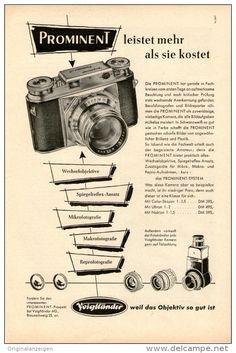 Original-Werbung/ Anzeige 1954 - 1/1-SEITE - PROMINENT KAMERA / VOIGTLÄNDER - ca. 230 X 150 mm