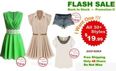 FLASH SALE!  Super slim price flash sale! Offered for 48 hours only! Hot items back in season! Only $19.99! Don't miss it, girls! Here you go >> http://www.romwe.com/manage_activity/Best-Sellers-Flash-Sale/?HOTFUNSTUFFS