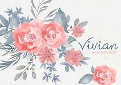 Pink flowers clipart, floral clipart, watercolor clipart, pink, dusty blue, png clipart, floral elements, watercolor elements, wedding pink
