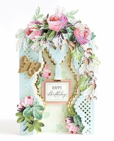 Anna Griffin card by Yukari D. Card Making Kits, Making Ideas, Friend Crafts, Shabby Chic Cards, Anna Griffin Cards, Card Making Inspiration, Birthday Cards, Happy Birthday, Cardmaking