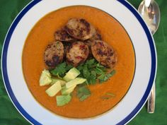 Roasted Red Pepper and Avocado Soup with Sausages