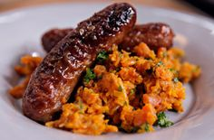 Nigel Slater's Simple Suppers: Mustard & lemon sausages with carrot mash recipe - goodtoknow