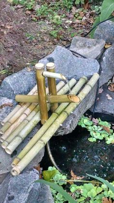 DIY clacking bamboo water feature