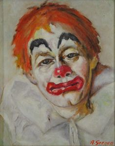 """Vintage French or Belgian Oil Painting on Canvas, """"Clown"""", Signed, Mid-Century Le Clown, Clown Faces, Circus Clown, Creepy Clown, Old Circus, Vintage Circus, Vintage Art, Clown Paintings, Art Paintings For Sale"""