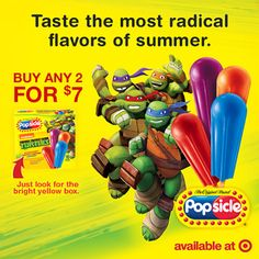 Now thru 7/9, TMNT Popsicle frozen treats are on sale at Target, two for $7! #TMNTPop #Sponsored #Target
