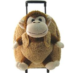 Kids Beige Rolling Backpack With Monkey Stuffie -Affordable Gift for your Little One! Item #DKKI-8095C