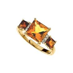 14K Yellow Gold 0.06 ct. Diamond and 2 3/4 ct. Square Shaped Multicolor Citrine Ring