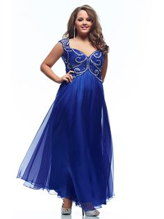 A-Line/Princess Sweetheart Beading Sleeveless Floor-length Chiffon Plus Size Prom Dresses