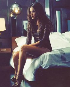 pretty little liars - shay mitchell in black lbody suit showing off sexy shiny legs and cute sexy strappy black heels - love the sexy & messy long hair - wowsa Belle Lingerie, Lace Lingerie, Look Street Style, Sexy Poses, Lace Bodysuit, Beautiful Lingerie, Beautiful Legs, Amazing Legs, Gorgeous Heels