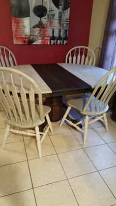 Beautiful solid wood table and Chairs...Combination of stain and chalk painted and sealed. $395