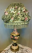 Amazing Vintage Porcelain Hand Painted Floral Gold Electric Lamp w/ Ornate Shade