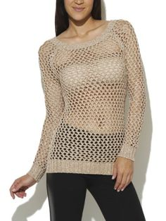 Arden B. Women's Lurex Net Sweater L Muted Clay, This chic sweater tunic features an open netted lurex body with a boat neckline, and long sleeves. Ribbed trim completes the look. Tunic Sweater, Pullover Sweaters, Wet Seal, Bell Sleeve Top, Sweaters For Women, Spring Summer, Chic, Long Sleeve, Maquillaje