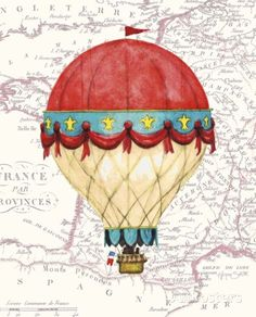 Vintage Red Air Balloon Prints by Hope Smith at AllPosters.com