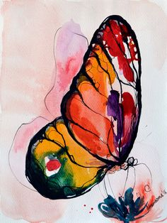 Rainbow Butterfly watercolor painting, original artwork. Aquarelle art. Unique birthday present, water colour sketch. Watercolour picture. by AlisaAdamsoneArt on Etsy https://www.etsy.com/listing/247562465/rainbow-butterfly-watercolor-painting