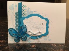 Blue butterfly card from set of four.