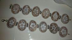 Bracciali cammei floreali in argento 925