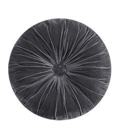 round, grey, velvet, button.