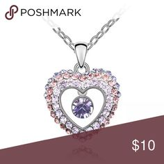 🎀NEW🎀 Lovely Heart Necklace Tibetan Silver heart necklace with purple and pink rhinestone Jewelry Necklaces