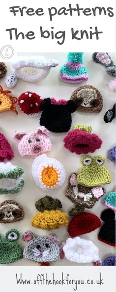 Free The Big Knit crochet patterns, Innocent smoothies, Age UK - off the hook for you. Easter Crochet Patterns, Knitting Patterns, Crochet Ideas, Hat Patterns, Free Knitting, Free Crochet, Knit Crochet, Crochet Hats, Small Knitting Projects