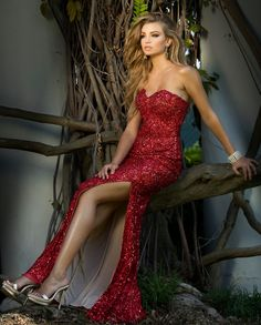 Prom Dresses Evening Dresses by SCALA<BR>asc48674<BR>Sweetheart strapless floor length dress with fully beaded body around sexy side slit.