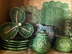 Part of my collection of Portuguese Pottery.  I go for only green, leafy items - some actually have rabbits on them, too - ties in with the rabbit collection perfectly!  The Bordallo Pinheiro web site shows many of their pieces - need to go there someday and tour their museum.