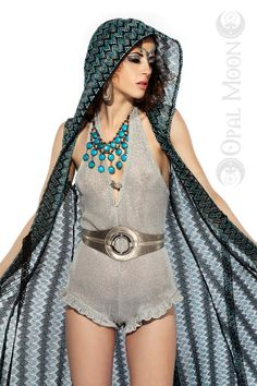 "Cloak"" Long Vest with Hood in Aquamarine (Blue/Black) Size M, L."