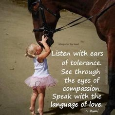 Listen with ears of tolerance.  See through the eyes of compassion.  Speak with the language of love. - Rumi