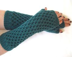 Long length fingerless gloves, cosy wrist warmers in Kingfisher teal, hand knit in soft merino wool - by A Crooked Sixpence