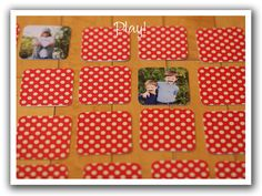 For a toddler whose family is close to you, create this personalized matching game. Good game to make for kids working on matching and learning to id people Homemade Gifts, Diy Gifts, Diy For Kids, Gifts For Kids, Toddler Activities, Learning Activities, Toddler Gifts, Crafty Craft, Diy Toys