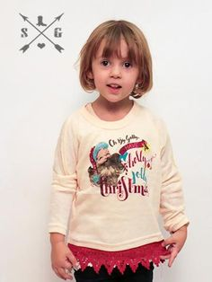 Kids Holly Jolly Christmas Tunic Sweater with Red Lace Trim