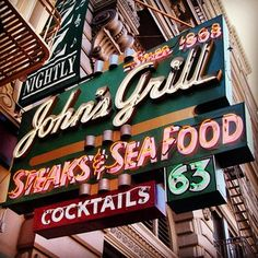 John's Grill - great Martini Bar and the Maltese Falcon statue is still hidden upstairs-I saw it last week. Cool Neon Signs, Vintage Neon Signs, Neon Light Signs, Retro Vintage, Electric Signs, Martini Bar, American Diner, Typography Logo, Lettering