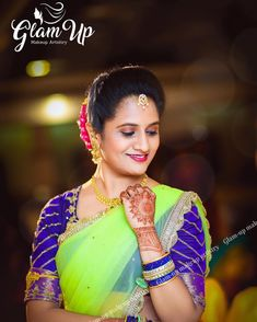 "Hyderabad Bridal Inspiration on Instagram: ""@glamupmakeupartistry With his professional make-up techniques Hyderabad based @glamupmakeupartistry offers glamorous bridal makeovers…"" Lehenga, Sarees, Maggam Work Designs, Saree Blouse Designs, Hyderabad, Color Combos, Make Up, Glamour, Bridal"