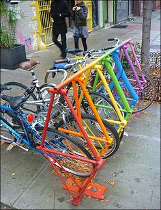 A #bicycle rack upcycled from bicycles - of course! #upcycling