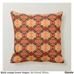 Shop Black, orange, brown dragonfly pattern solid back throw pillow created by Colored_Pillows. Orange Pillows, Orange Brown, Custom Pillows, Your Design, Throw Pillows, Make It Yourself, Deco, Knitting, Fabric