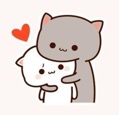 Cute Cartoon Images, Cute Couple Cartoon, Chibi Cat, Cute Chibi, Kitten Wallpaper, Cute Kawaii Animals, Cat Icon, Molang, Cat Stickers
