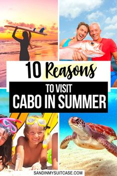 10 Reasons to Visit Cabo in Summer (Mexico). Hey, you'll love visiting Cabo in summer! The weather is great, the beaches are hot, the fishing is epic and the sea turtles start to arrive! | Summer in Cabo | Best time to go to Cabo San Lucas