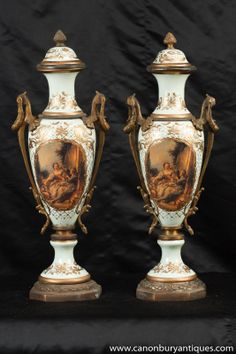 Photo of Pair French Sevres Porcelain Amphora Urns Vases Champleve