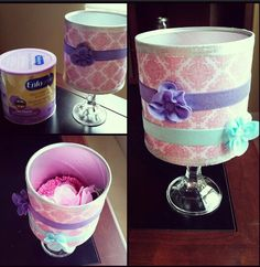 Cute headband holder I made out of a old formula can, some scrapbook paper, ribbon, and a candle holder!