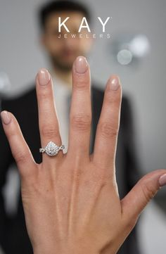 A sparkling double halo pear diamond engagement ring is the epitome of perfection. Pear Diamond Engagement Ring, Pear Shaped Engagement Rings, Unique Diamond Engagement Rings, Dream Engagement Rings, Engagement Ring Cuts, Kay Jewelers Engagement Rings, Double Band Wedding Ring, Bridal Rings, Wedding Rings