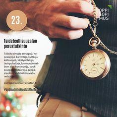 Oppisopimuksen joulukalenteri esittelee 24 mielenkiintoista tutkintoa ja niiden osaamisalaa joihin voi opiskella oppisopimuksella. Hyvää joulun odotusta! #oppisopimusjoulukalenteri #oppisopimus #tutkinto Pocket Watch, Watches, Accessories, Wrist Watches, Pocket Watches, Wristwatches, Tag Watches, Watch