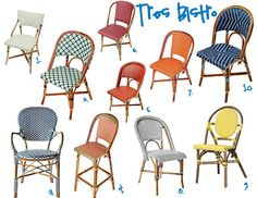 sadie + stella: Monday Musings: The Bistro Chair Sources for Bistro Chairs<br> Kitchen Table Chairs, Bistro Chairs, Patio Furniture Sets, Colorful Furniture, Furniture Design, Furniture Ideas, Modular Furniture, Cheap Furniture, The Bistro