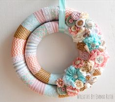 Beach themed double wrapped fabric wreath. Made by Wreaths By Emma Ruth